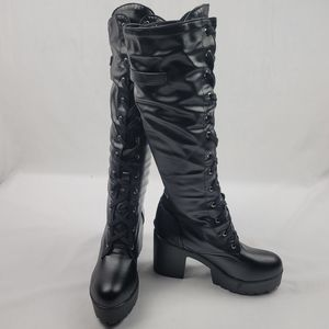 NWOT vegan leather chunky platform laceup boots